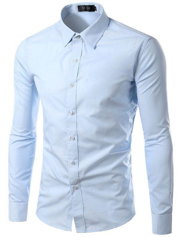 Camisa Masculina Slim Fit Cor Sólida - Azul Claro