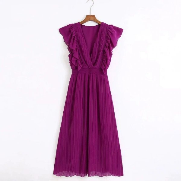 Vestido Midi Plissado - 3 cores
