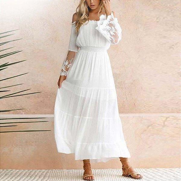 Vestido Longo Off Shoulder White