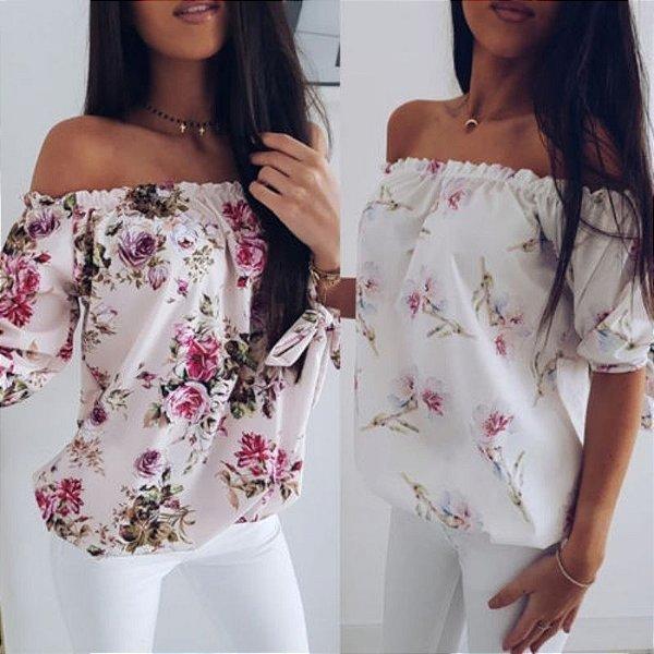 Blusa Off Shoulder Flowers - 2 cores