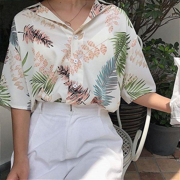 Camisa Manga Curta Folhagens - 3 cores