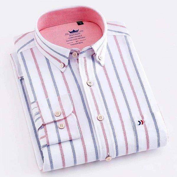 Camisa Social Listras Oxford - 2 cores