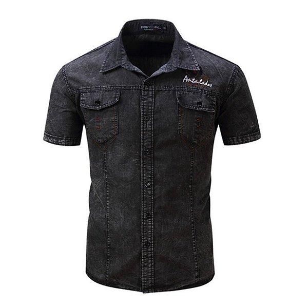 Camisa Jeans Manga Curta - 2 cores