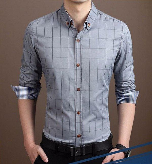 Camisa Masculina Quadriculada Cinza