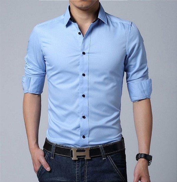 Camisa Masculina Lisa Clássica Azul Claro