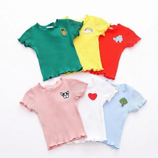 Blusa Canelada Desenho - 6 cores