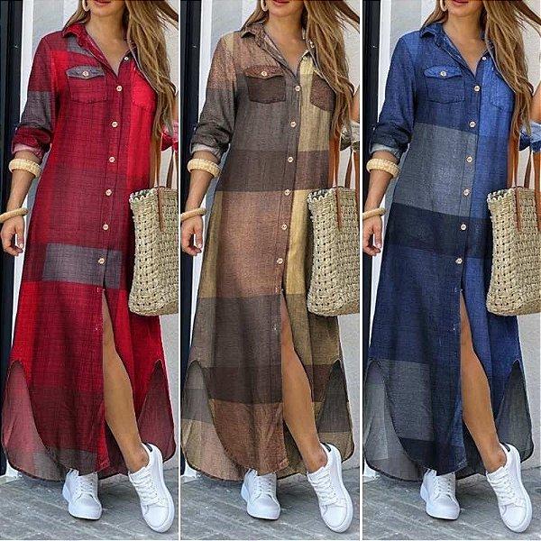 Vestido Shirt Longo Botões - 3 cores