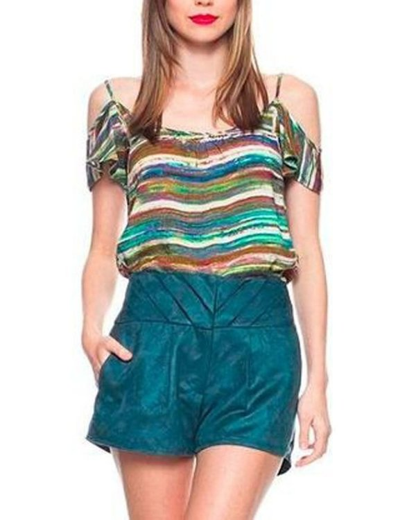 Blusa Estampada Off Shoulder Verde