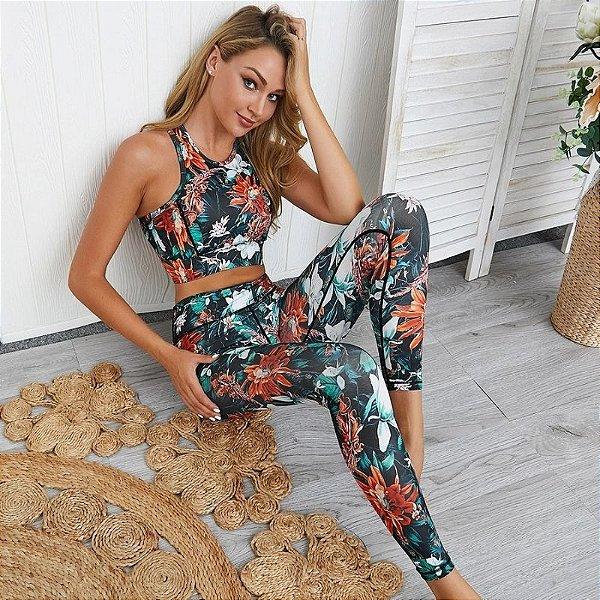 Conjunto Top e Calça Floral - 2 cores