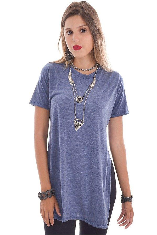 T-shirt com Fenda Lateral Azul