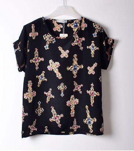 Blusa estampa de Cruz Dourada - Preta/Bege