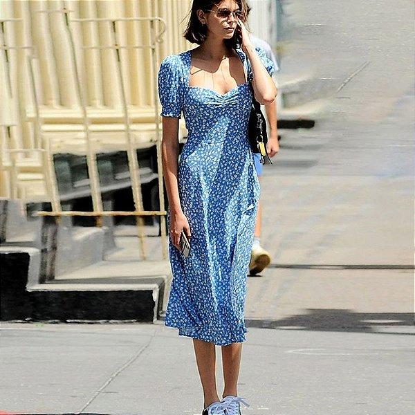 Vestido Blue Vintage Style