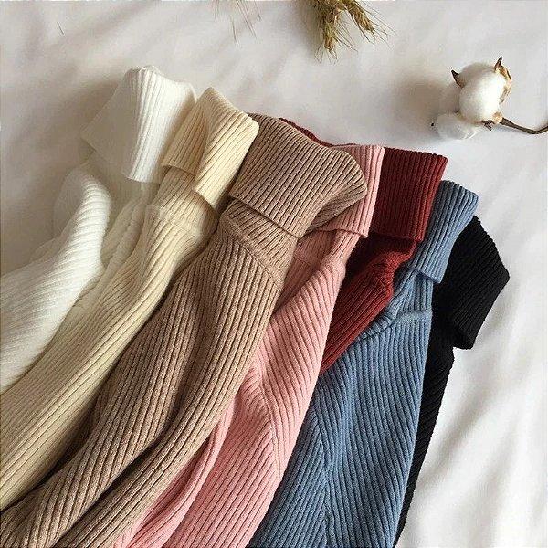 Suéter Canelado Gola Alta - 9 cores
