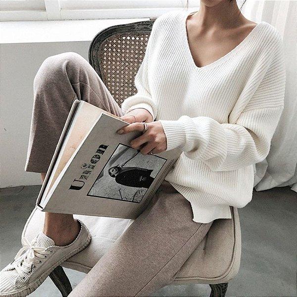 Suéter Decotado Tricot - 3 cores