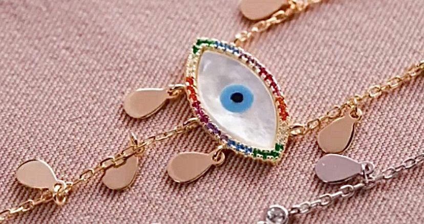 Colar Olho Grego Prata com banho de Ouro e zircônias coloridas