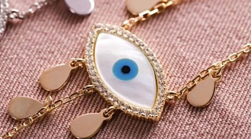 Colar Olho Grego Prata com banho de ouro  e zircônias