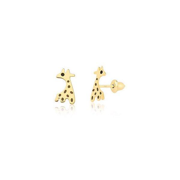 Brincos Girafa em Ouro 18K com Esmaltação Italiana