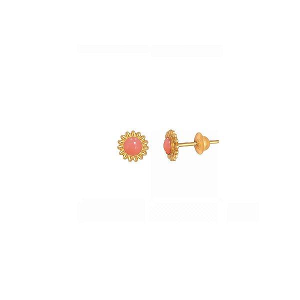 Brincos em Ouro 18K e Coral