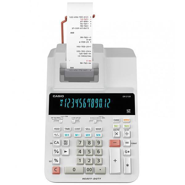 Calculadora com Impressora Casio DR-210R-WE com Suporte para Papel Bivolt - Branca