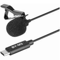 Microfone de Lapela Boya USB-C para Android/iPad Pro/Mac BY-M3 Negro
