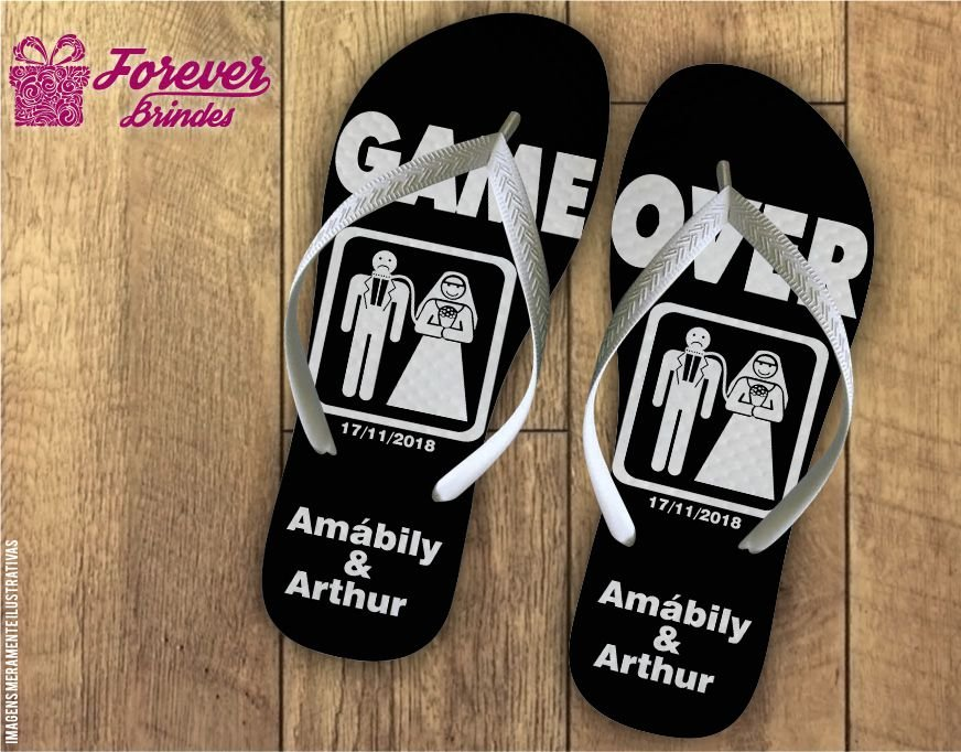 Chinelo De Casamento Game Over