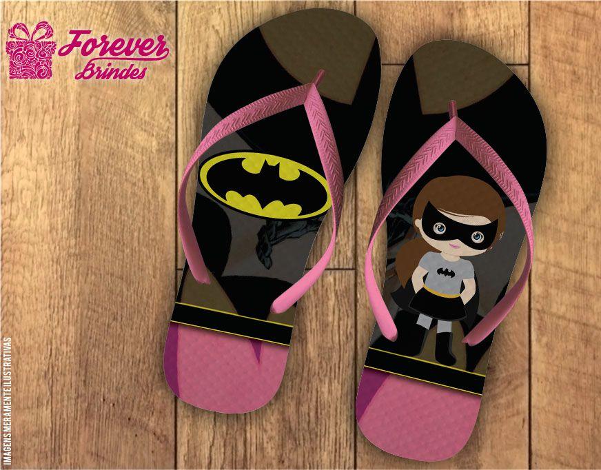 Chinelo De Aniversário Infantil Batman Menina