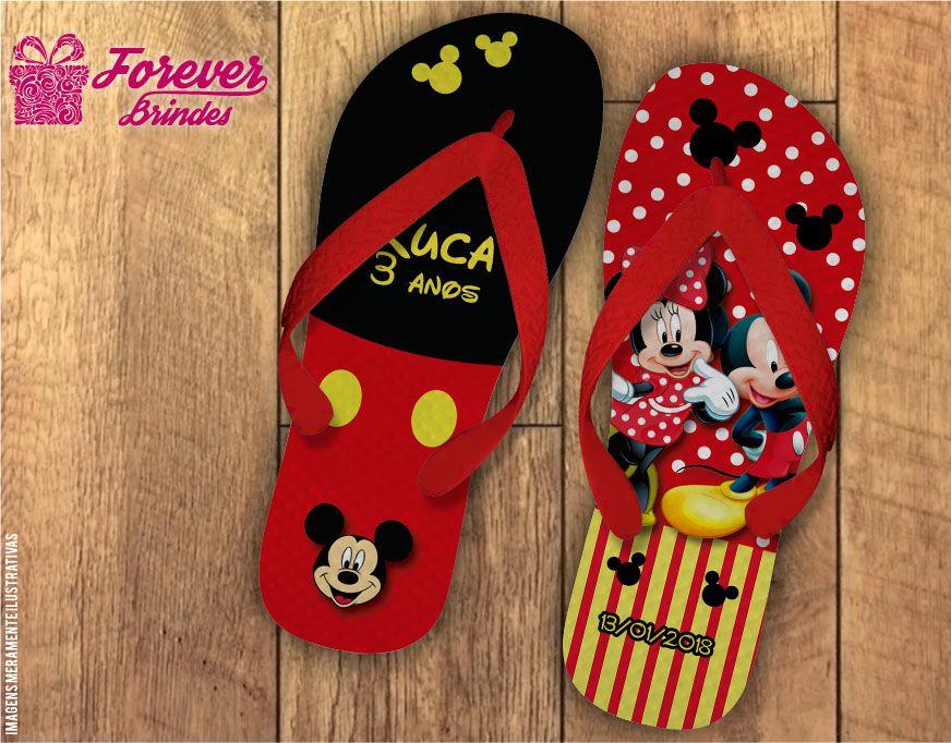 Chinelo De Aniversário Infantil Mickey e Minnie