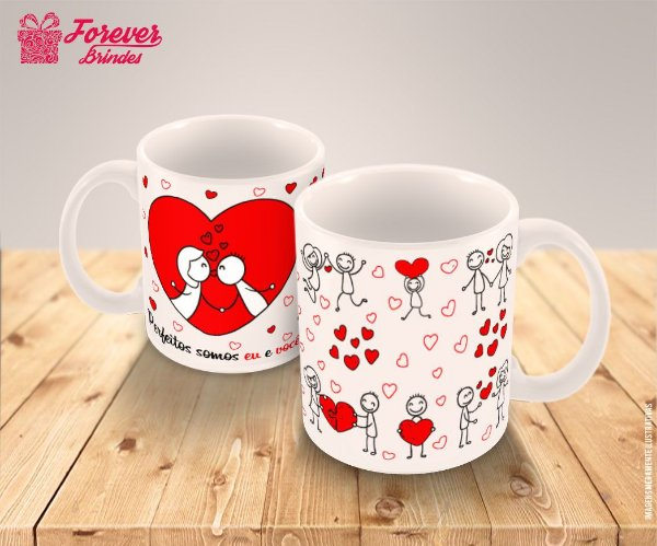 Caneca Porcelana Casamento Coração