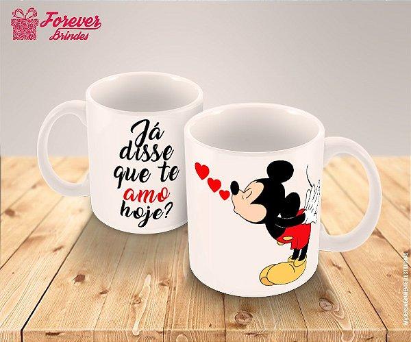Caneca Porcelana Mickey Coração Disney