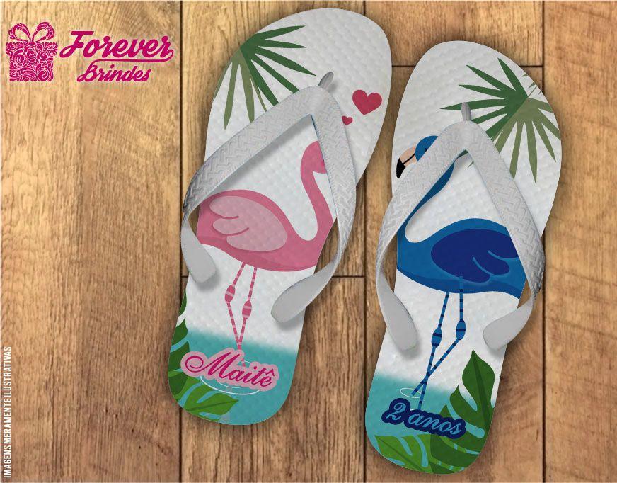 Chinelo De Aniversário Infantil Flamingo