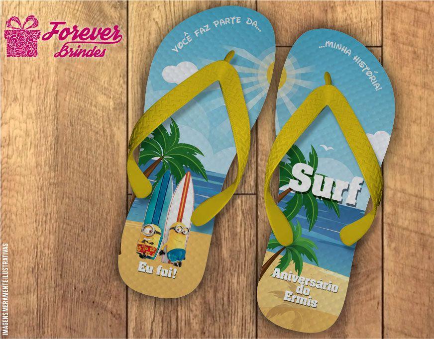 Chinelo De Aniversário Infantil Surf Minions