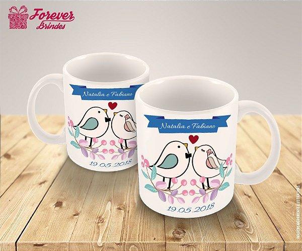 Caneca Porcelana Personalizada Casamento Pássaros