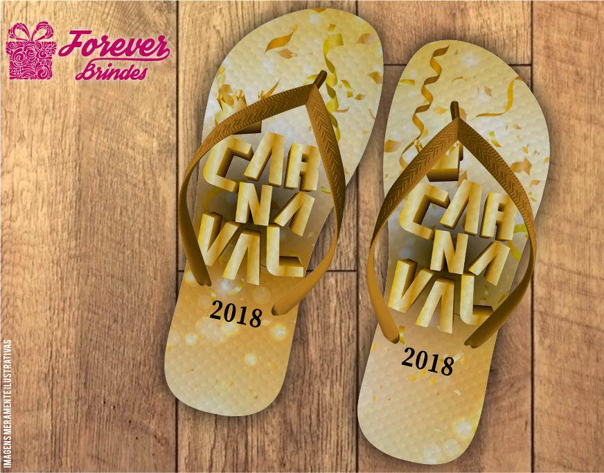 Chinelo De Carnaval Dourado