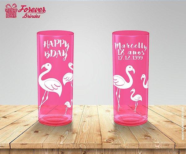 Copo Long Drink Flamingo Happ Bday