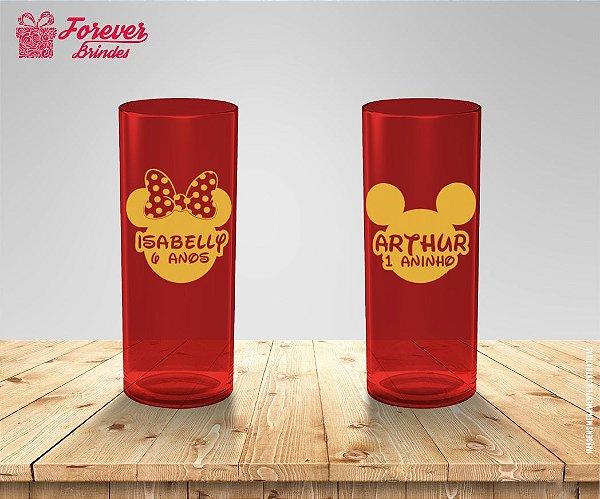 Copo Long Drink Aniversário Rosto Minnie e Mickey