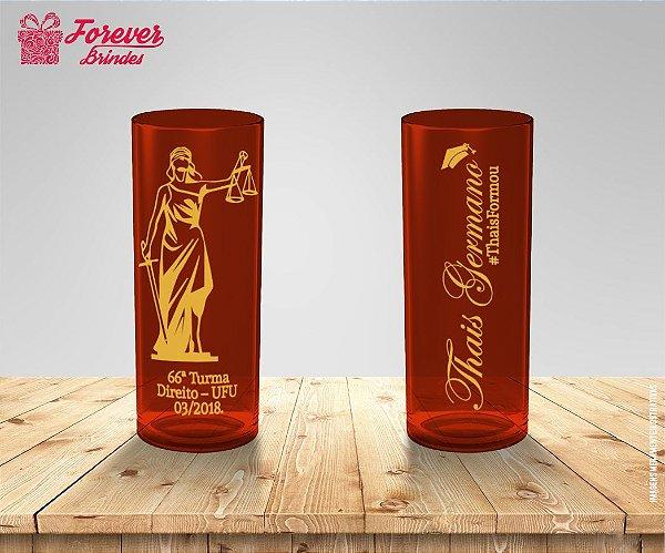 Copo Long Drink Direito Vermelho e Dourado