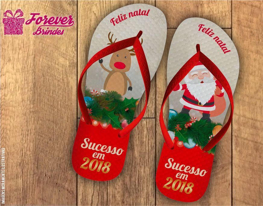 Chinelo De Natal Papai Noel e Rena