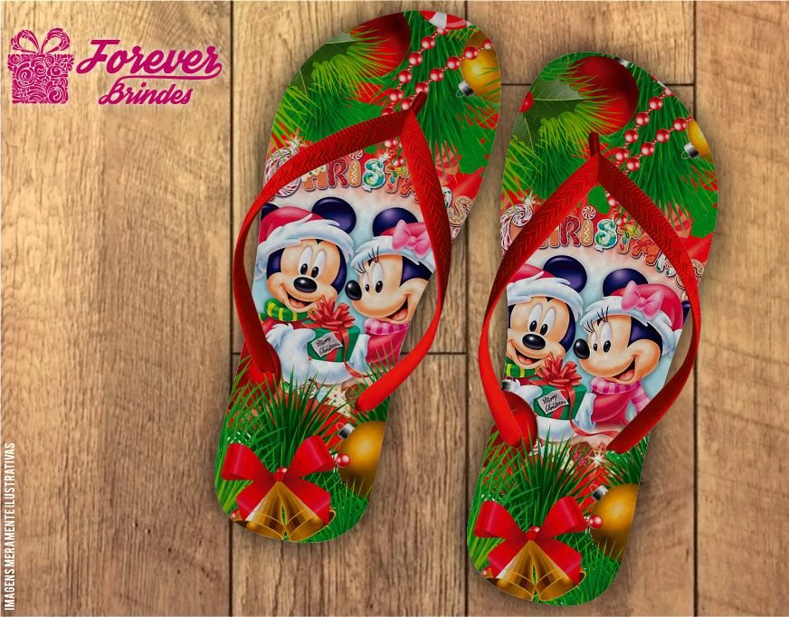 Chinelo De Natal Mickey e Minnie