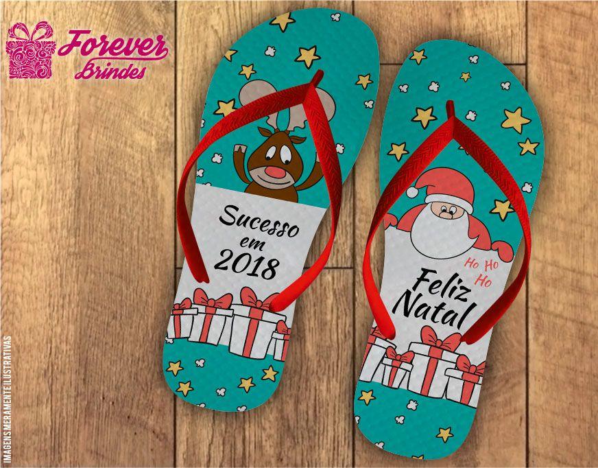 Chinelo De Natal Rena e Papai Noel