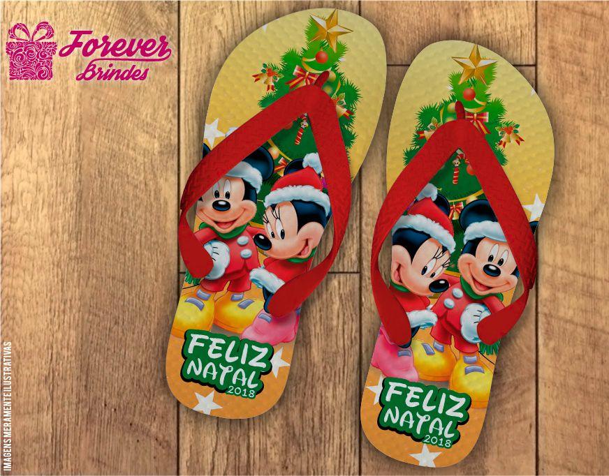 Chinelo De Natal Minnie e Mickey
