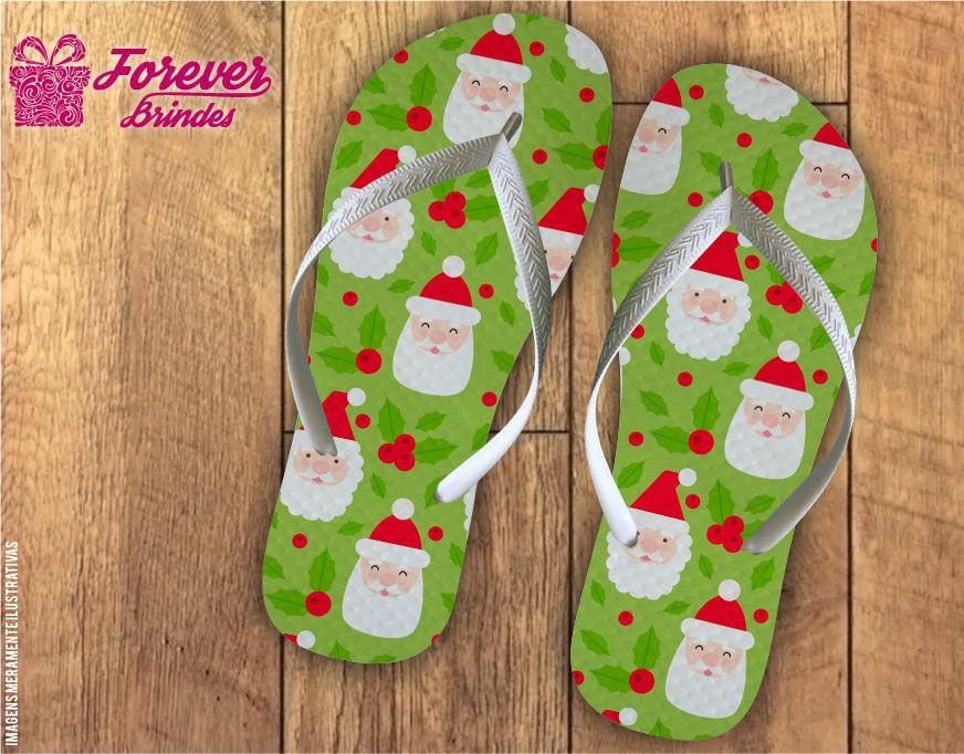 Chinelo De Natal Rosto Papai Noel