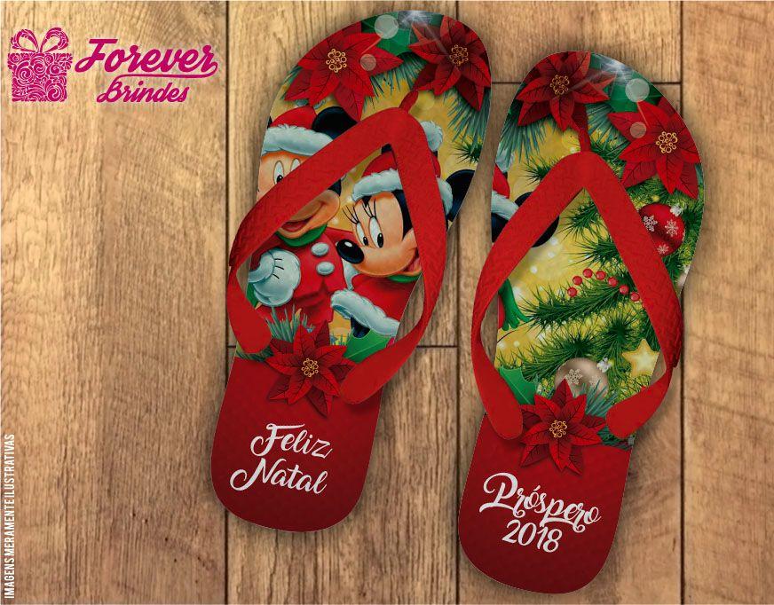 Chinelo De Natal Mickey e Minnie Flores