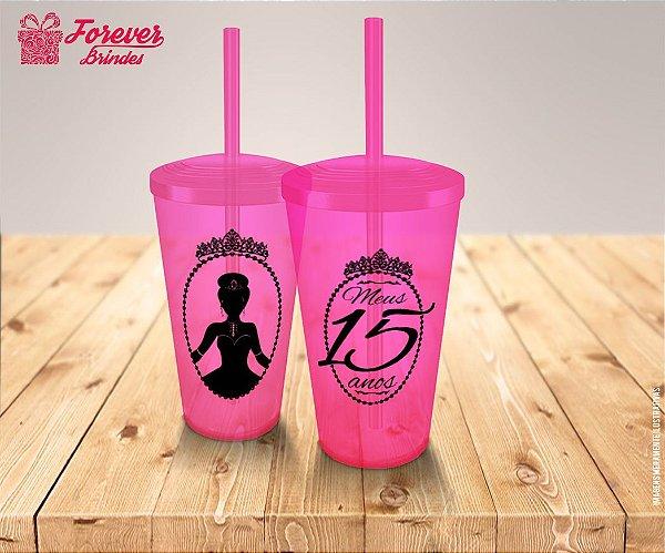 Copo Twister Aniversário 15 Anos Coroa Princesa