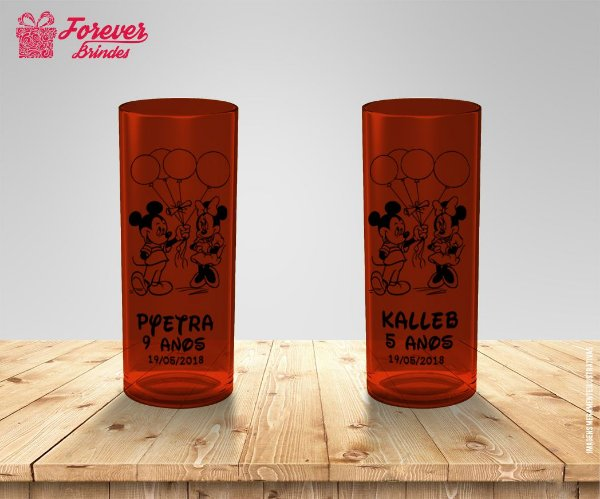 Copo Long Drink Mickey e Minnie Com Balões