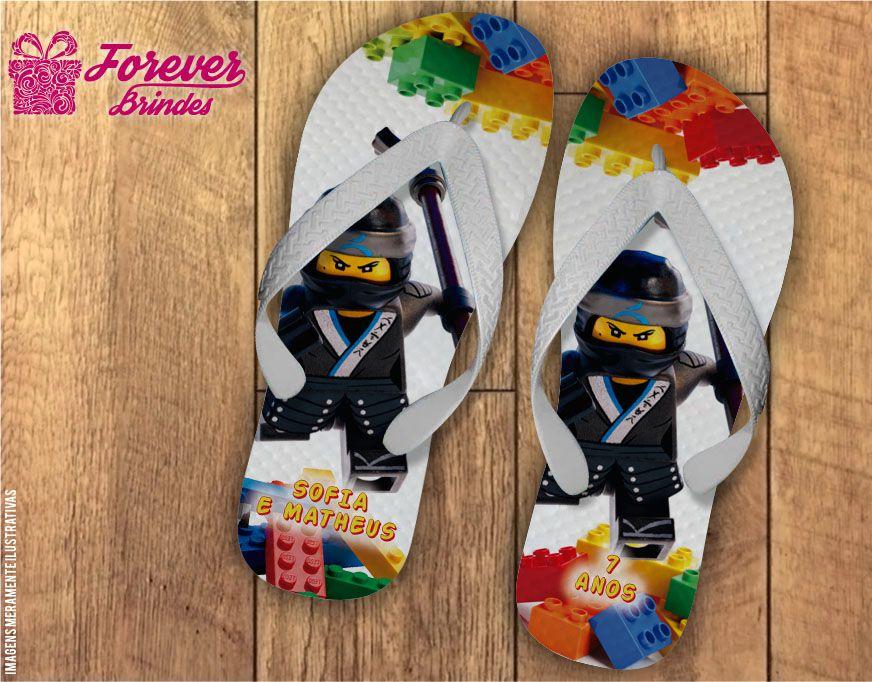 Chinelo De Aniversário Infantil Ninja Lego