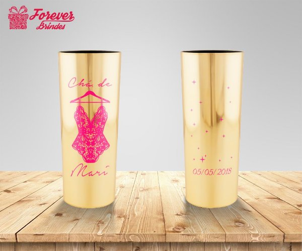 Copo Long Drink Metalizado Chá De Lingerie Rosa