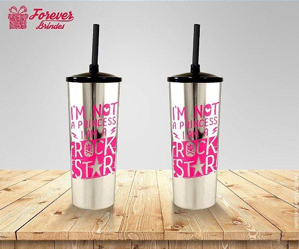 Copo Long Drink Metalizado Princesa Rock Star