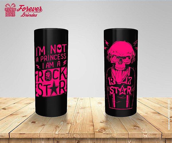 Copo Long Drink Rock Star Rosa e Preto