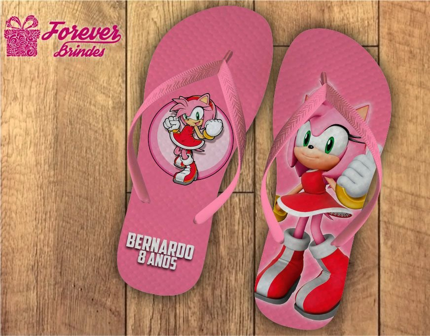 Chinelo Aniversário Infantil Sonic Amy Rose