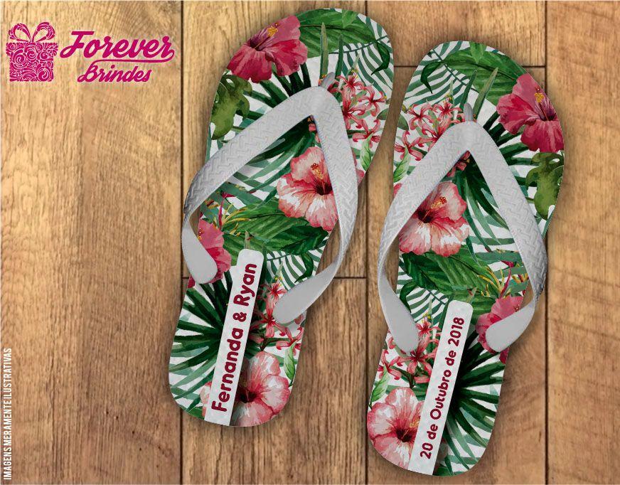 Chinelo Casamento Flores Luau